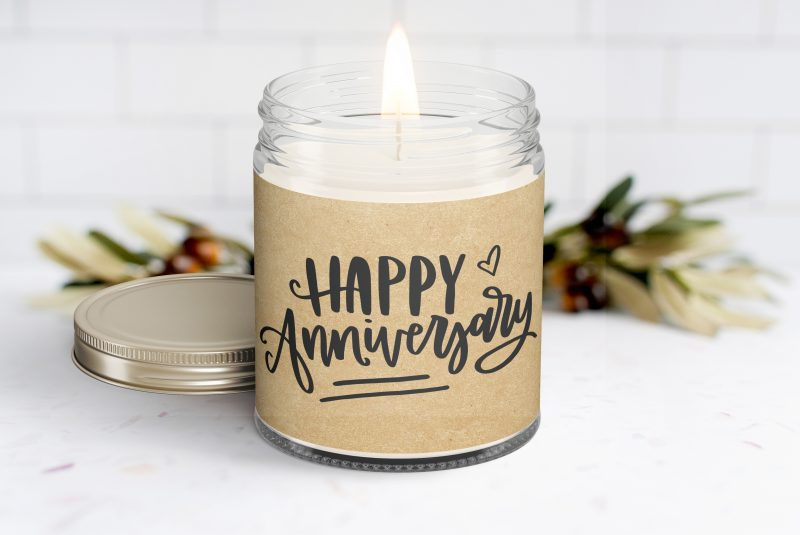 Happy Anniversary Personalized Soy Candle - Anniversary Gift - Build a Gift Box