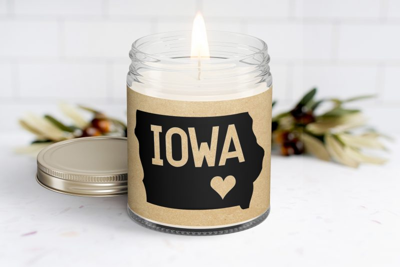 Iowa Personalized Scented Soy Candle - Thinking of You Gift - Curate Your Gift Box