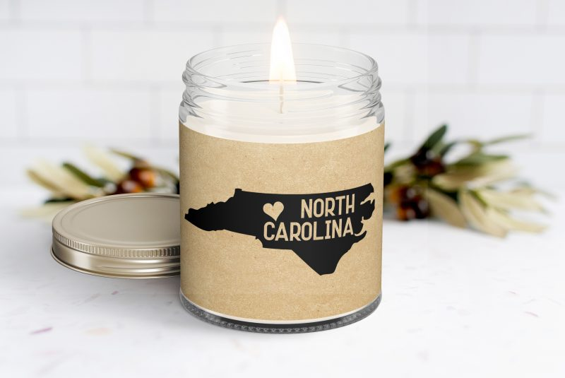 North Carolina Personalized Soy Candle - Homesick Gift - Moving - College Student - Missing You - Missing Home - North Carolina Care Box